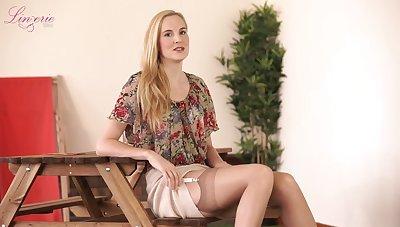 Assuredly leggy blonde slut Ariel Anderssen loves posing in her sexy lingerie