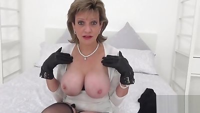 Unbecoming british milf lady sonia displays her giant tits