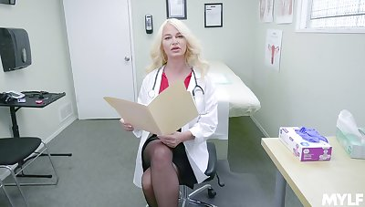 Horny nurse London Brooklet adores to masturbate in her hospital office
