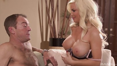 Busty blonde Diamond Foxx spreads her long arms for a valiant penis