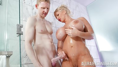 Blonde pornstar Alura Jenson with massive fake hooters fucked