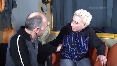 Creepy old man talks a hot mature slut into having dealings with him