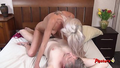 Young Blonde MILF Orgasms Hard After a long time Riding Age-old Cameraman