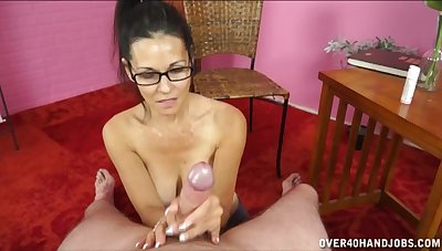Serious oral sex in POV with a big-busted amateur old lady