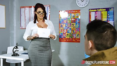 Young lad wowed by big-breasted MILF teacher Congruence Reigns