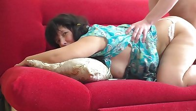 Stepmother in White Thong Gave her Ass to her Son. Mature Lady with Big Ass Anal Sex and Blowjob