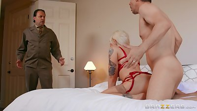 Busty wife gets caught when fucking with her skit son