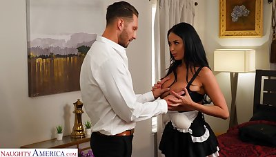 Sexy tanned maid with lovely curves Anissa Kate is poked doggy
