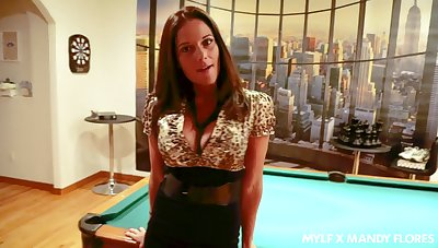 Busty brunette MILF in dispirited black lingerie Mandy Flores loves blowjob