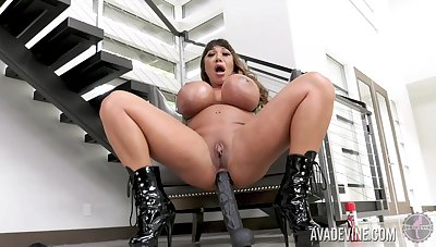 Giant breasted whore Ava Devine loves persiflage herself at home