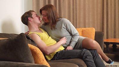 Insatiable mature girlfriend Rafaella bangs her young suppliant again and again