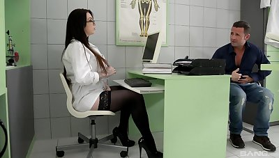 Hospital sex with the curvy female doctor and a huge cock