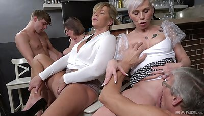 Young lad suits these elderly sluts by fucking them all