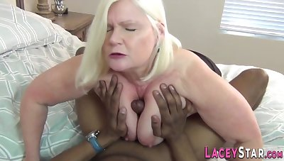 Full-Breasted Grandma Blows Rod