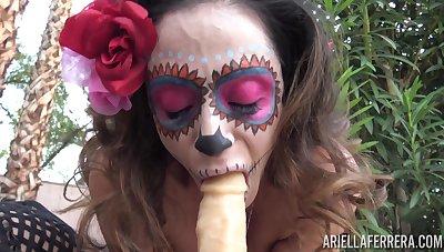 Halloween hooker Ariella Ferrera is bringing off with their way favorite sex toy