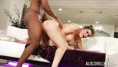 Black man picks up Alix Lovell during a hardcore bang occasion