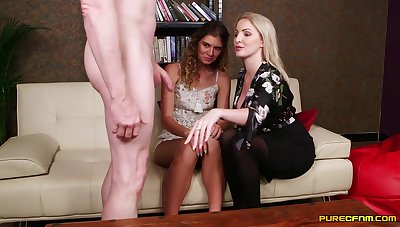 Candice Demellza together with Georgie Lyall pleasure one naked man's cock
