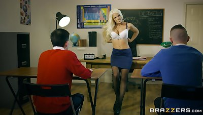 Young lads show their teacher the best threesome she ever had