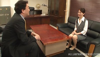 Office sex ends with cum in mouth be useful to a Japanese secretary