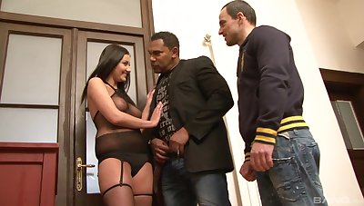 Tanned brunette works magic respecting her tight pussy just about rough trio