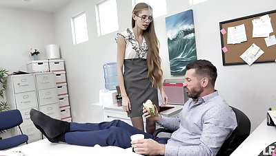 Nerdy secretary finds it intriguing to enjoyment from with the boss
