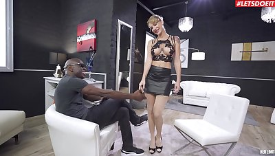 Busty blonde doll plays obedient regardless of of a BBC