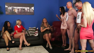 CFNM party with five pornstars and yoke naked dude with a stiff dick