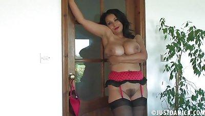 British slut Danica Collins in red lingerie and black stockings