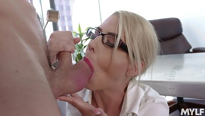 Astounding denuded MILF goes intimate with three of the guys from the office