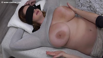 Fetish with blindfolded Nika - Environment the Nika - Mature mom has her big boobs massaged