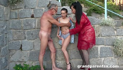 Dirty outdoors foursome between a younger with an increment of an older couple
