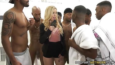 Sooty boys fuck deep throat of nasty white chick Kali Roses and cum greater than her face