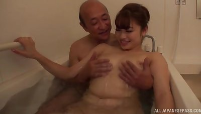 Deep sex not far from the tub for the sexy Japanese wife