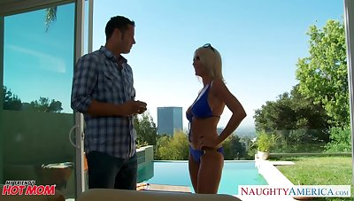 Friend's matriarch in the matter of provocative bikini Emma Starr gets into pants ans sucks like a cum thirsting