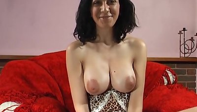 Busty hottie Mai Bailey tries parts a thick toy on the brush tight pussy