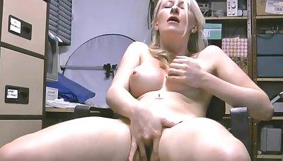 Horny blonde infant Katy Moore smokes a cigar and masturbates