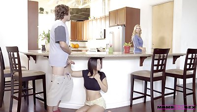 Kitchenette romance when mommy joins the fun