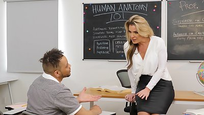 Cum on tits tick wild fucking in the college classroom with Kayla Paige
