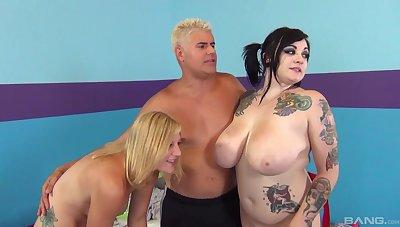 Tattooed slut Incandesce Lavey enjoys having a wild group intercourse