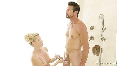 Erotic masseuse India Summer gies a nuru massage more Tommy Gunn