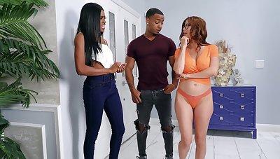 Interracial FFM threesome take horny Alexis Fawx and Nicole Kitt