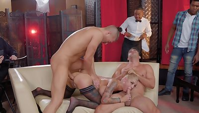 Reproduction penetration in MMF threesome with hot Bonnie Satanic